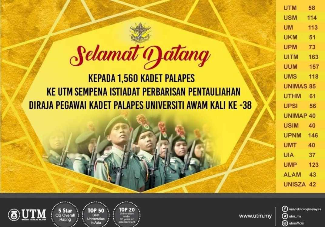 38th Royal Commissioning Parade of the Public University's PALAPES Cadet Officers @ Dataran UTMJB