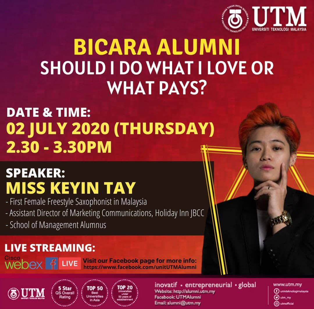"ALUMNI TALK ""SHOULD I DO WHAT I LOVE OR WHAT PAYS?"" BY MISS KEYIN TAY @ FB LIVE STREAMING"
